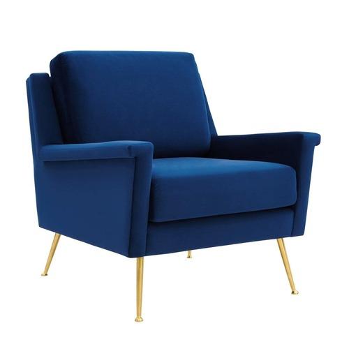 Used Armchair In Navy Velvet Fabric W/ Gold Steel Legs for sale on AptDeco