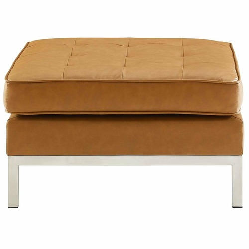 Used Modern Ottoman In Tan Faux Leather & Silver Finish for sale on AptDeco