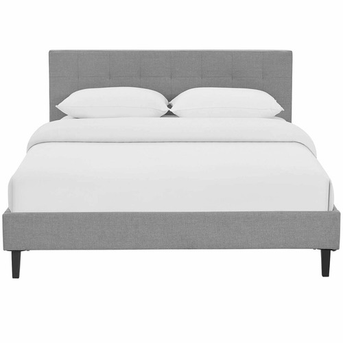 Used Modern Full Bed In Light Gray Polyester Fabric for sale on AptDeco