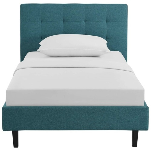 Used Modern Twin Bed In Teal Polyester Fabric Finish for sale on AptDeco