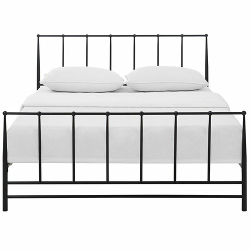 Used Modern Queen Bed In Brown Coated Steel Frame for sale on AptDeco