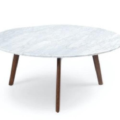 Used Article Round Stained Marble Coffee Table - Walnut for sale on AptDeco