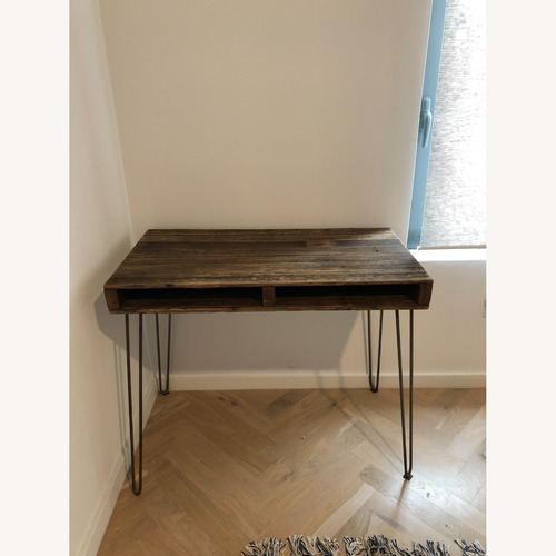 Used Reclaimed Wood and Hairpin Leg Vintage Desk for sale on AptDeco