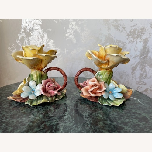 Used Vintage Capodimonte Pair of Floral CandleHolders for sale on AptDeco