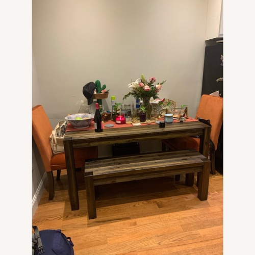 Used Dining Set with Bench and 2 Orange Velvet Chairs for sale on AptDeco