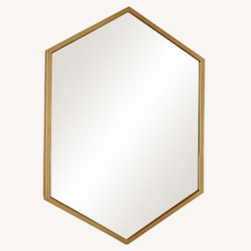 Used West Elm Metal Mirror Hex Wall Antique Brass for sale on AptDeco