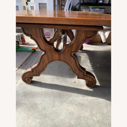 Used Solid Oak Link Taylor Table (1970) with 6 Chairs for sale on AptDeco