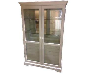White Curio Cabinet w/ 6 Storage Draws & Glass Display Shelv
