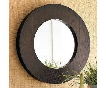 West Elm Brown-Black Round Mirror