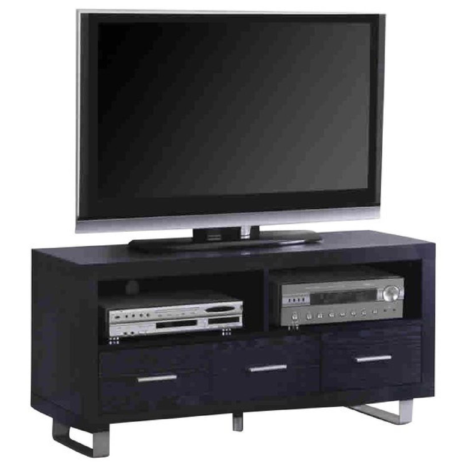Contemporary Black TV Stand w/ Two Compartments & Three Storage Drawers w/ Bushed Silver Hardware & Legs