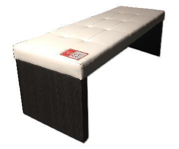 Lazzoni White Leather Ottoman Bench
