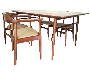 7 Piece Mid Century Danish Modern Solid Wood Dining Set