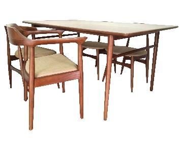 7 Piece Mid Century Danish Modern Solid Wood Dining Set