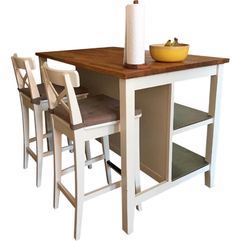 Ikea Stenstorp Kitchen Island Table w/ 2 Bar Stools