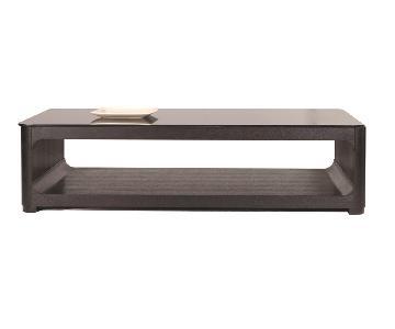 Modern Rectangular Coffee Table in Black Finish w/ Open Stor