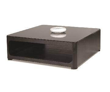 Modern Square Coffee Table in Black Finish w/ Open Storage C