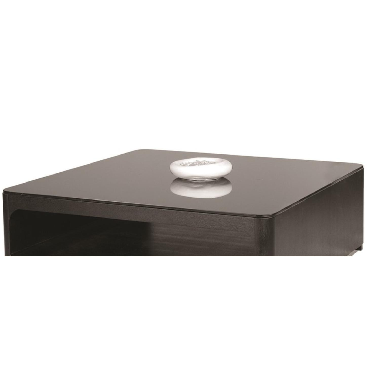 Modern Square Coffee Table In Black Finish W Open Storage C Aptdeco