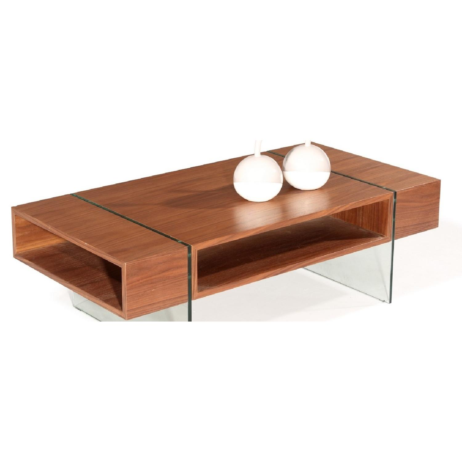 Modern Walnut Finish Coffee Table w/ Thick Harden Glass Legs