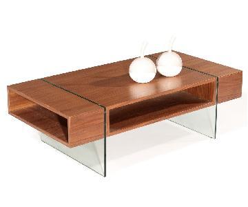 Modern Walnut Finish Coffee Table w/ Thick Harden Glass Legs
