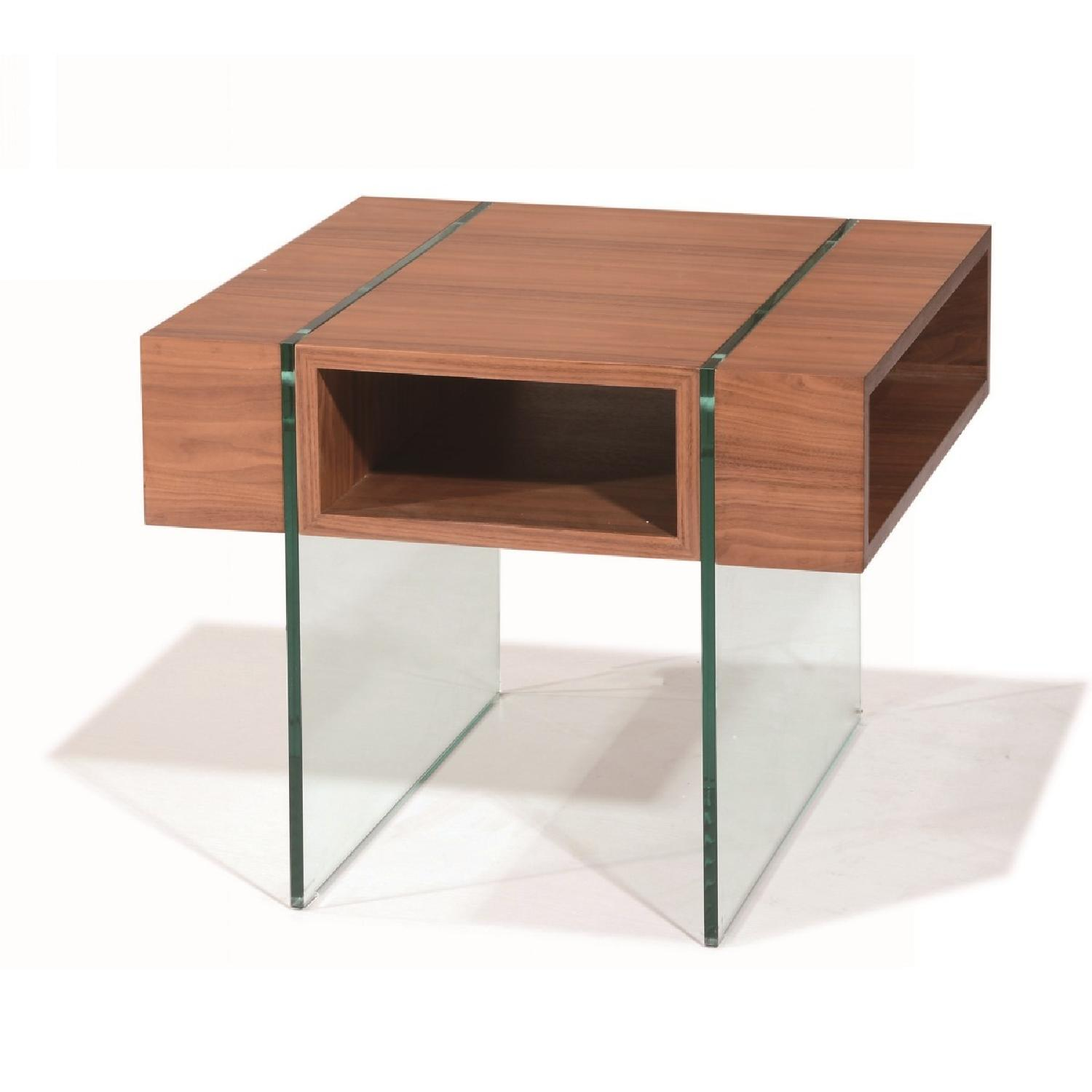 Modern Walnut Finish End Table w/ Thick Harden Glass Legs