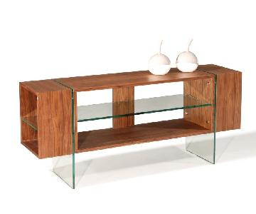 Modern Walnut Finish TV Console Table w/ Thick Harden Glass