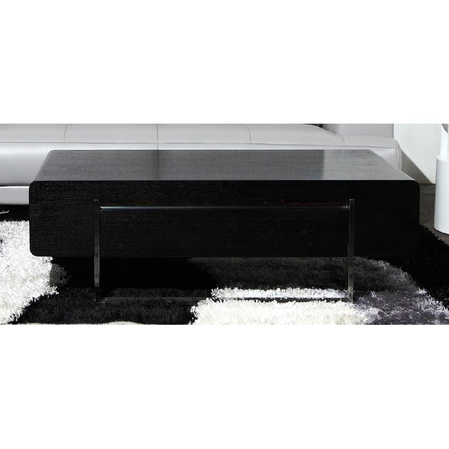Modern Coffee Table in Matte Black Finish w/ Storage Drawer -0