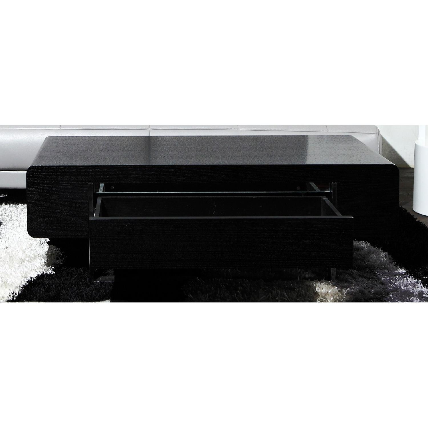 Modern Coffee Table in Matte Black Finish w/ Storage Drawer -2