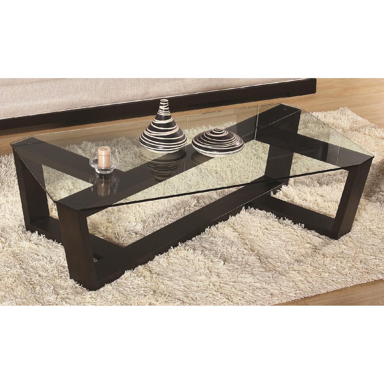 Modern Coffee Table in Wenge Finish w/ Crisscross Framed & T