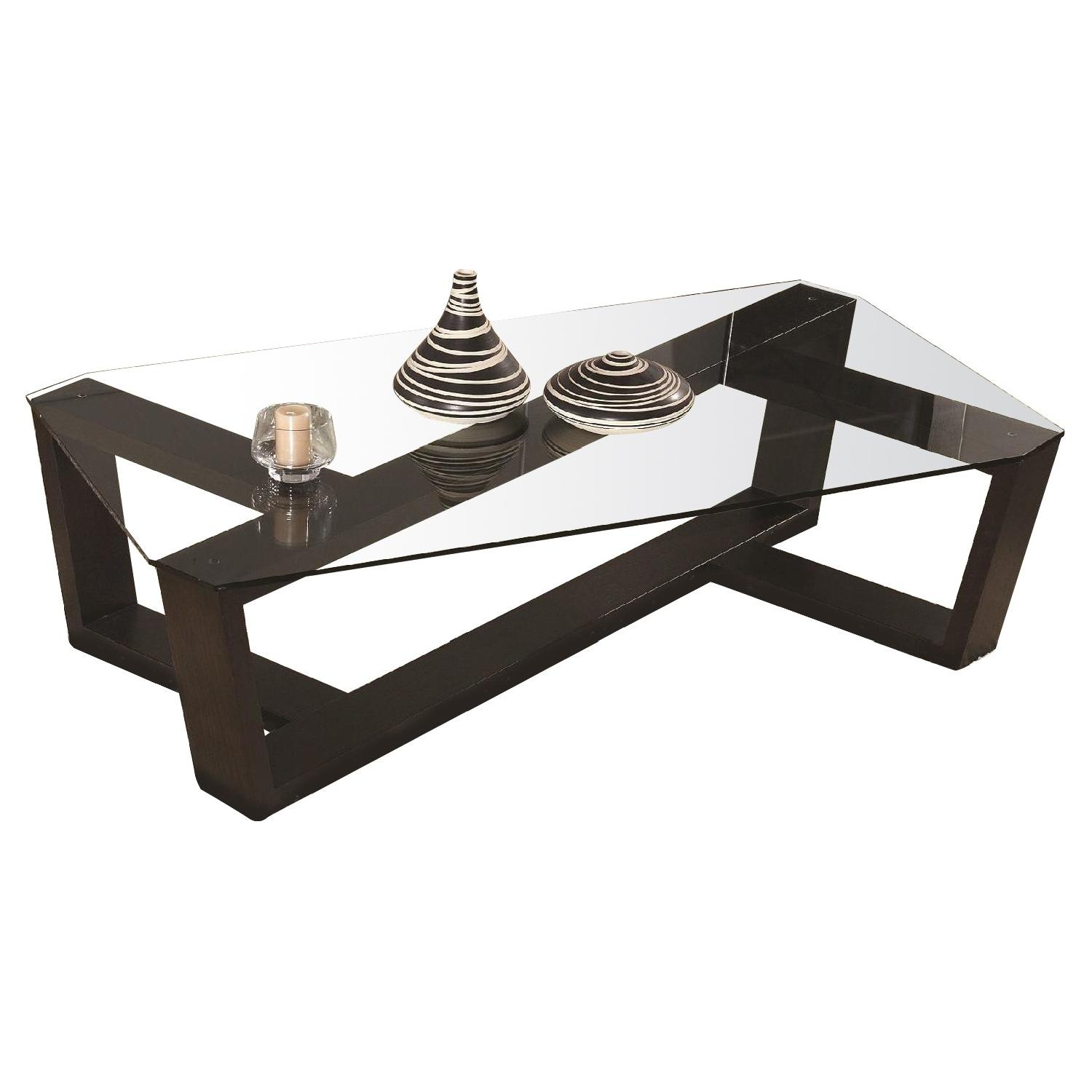 Modern Coffee Table in Wenge Finish w/ Crisscross Framed & T
