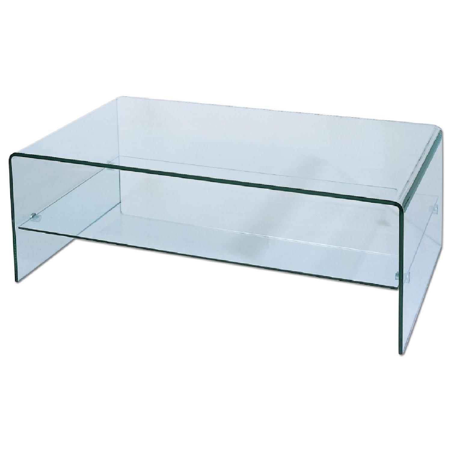 Modern Minimalist Sculpture Glass Coffee Table AptDeco