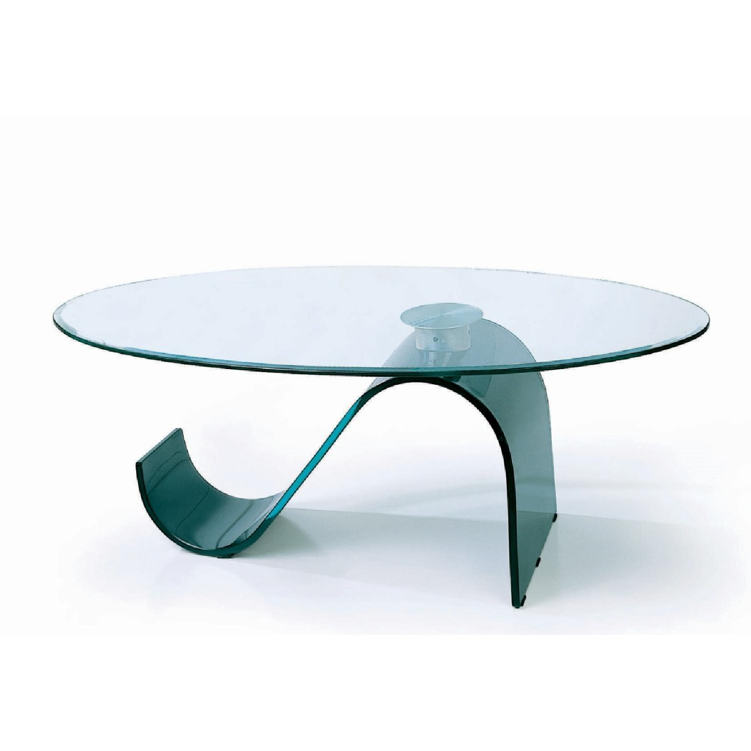 Modern Coffee Table w/ Thick Oval Tempered Glass Top &S Shap-0