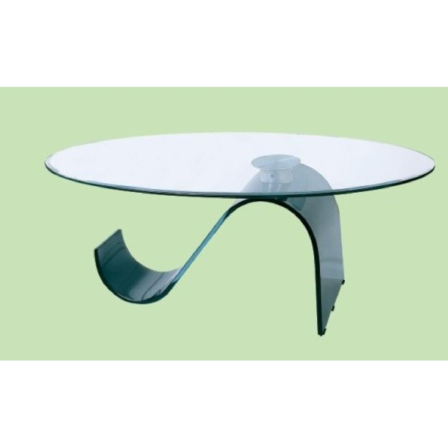 Modern Coffee Table w/ Thick Oval Tempered Glass Top &S Shap-1
