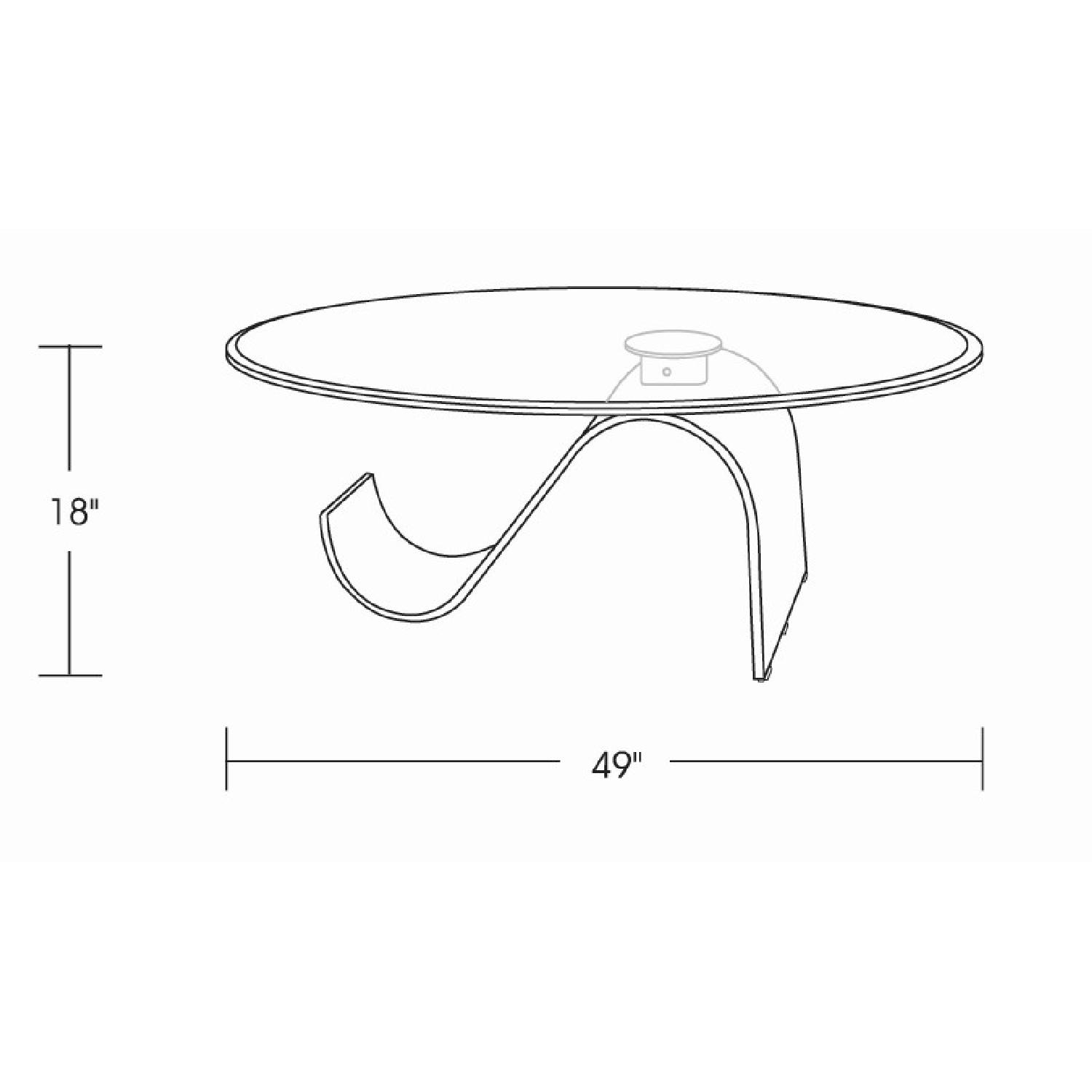 Modern Coffee Table w/ Thick Oval Tempered Glass Top &S Shap-2
