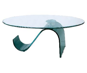 Modern Coffee Table w/ Thick Oval Tempered Glass Top &S Shap