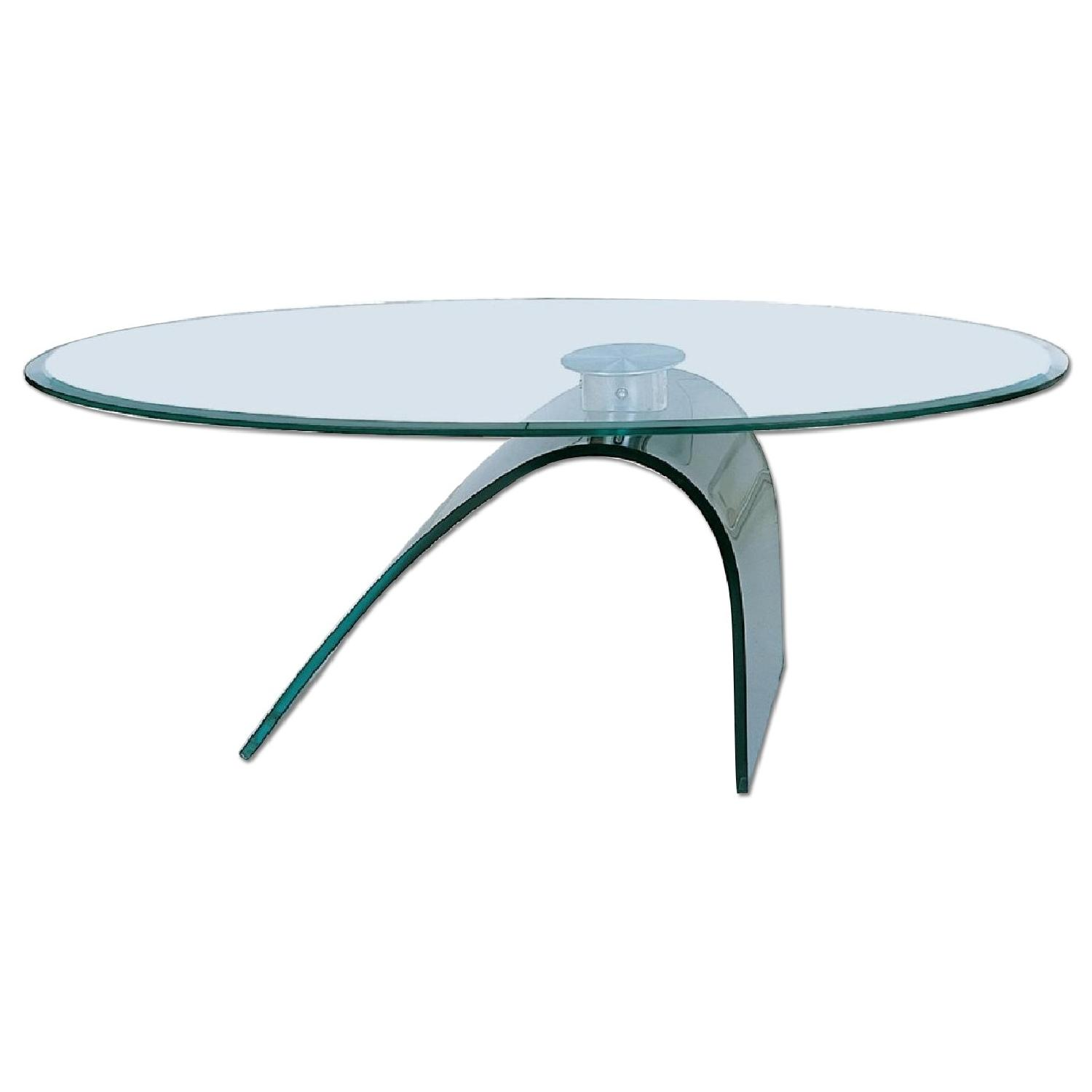 Modern Coffee Table w/ Thick Oval Tempered Glass Top & C Sha