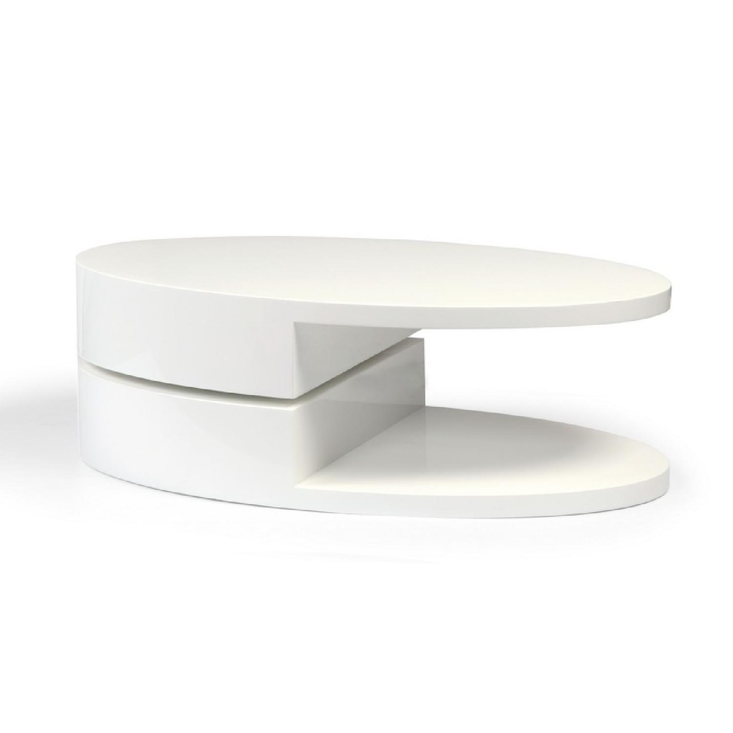 Modern Swivel Coffee Table.Modern High Gloss White Coffee Table W Swivel Oval Top Sc