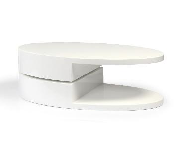Modern High Gloss White Coffee Table w/ Swivel Oval Top & Sc