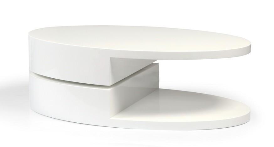 Modern High Gloss White Coffee Table w/ Swivel Oval Top & Sc