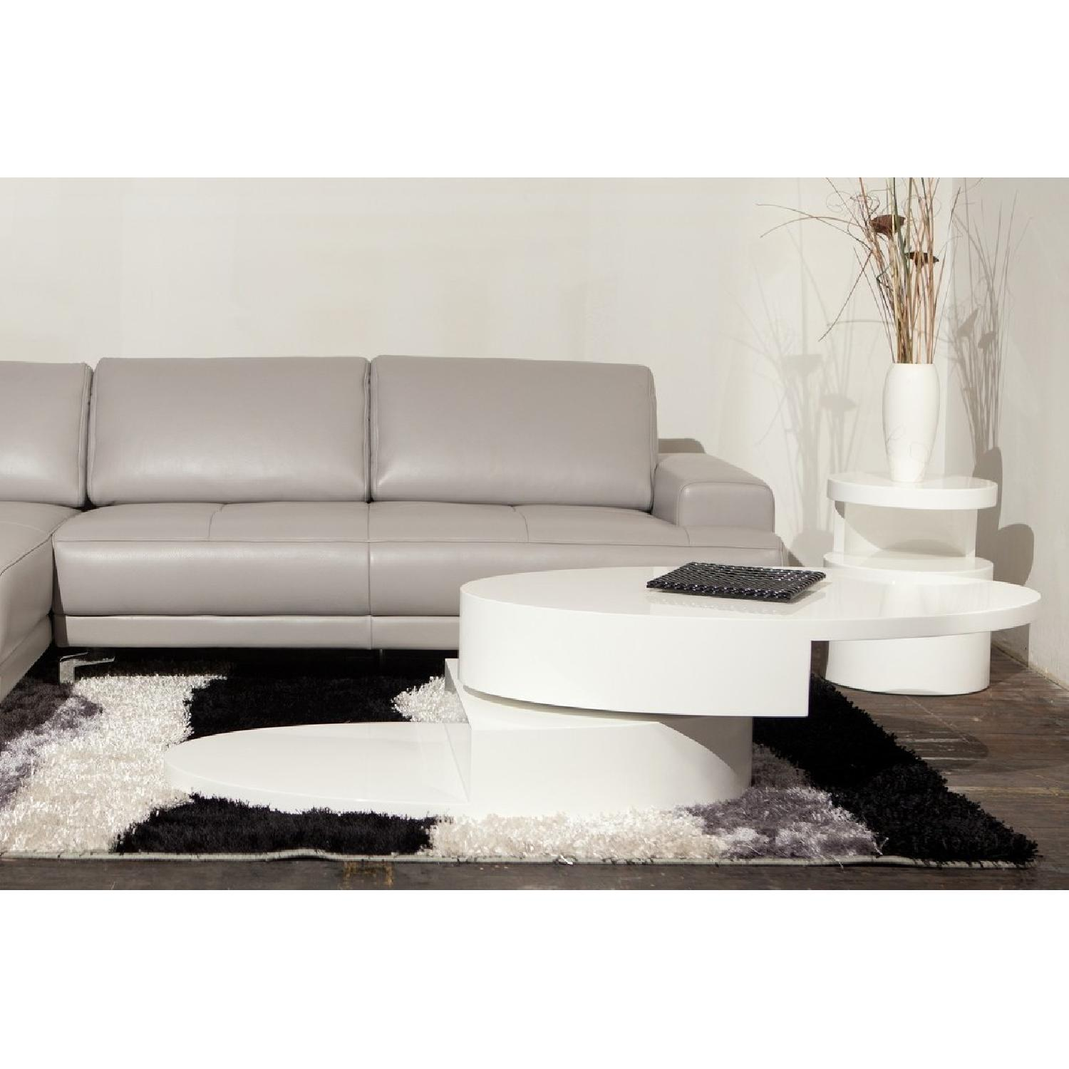 Modern High Gloss White Coffee Table w/ Swivel Oval Top & Sc-0
