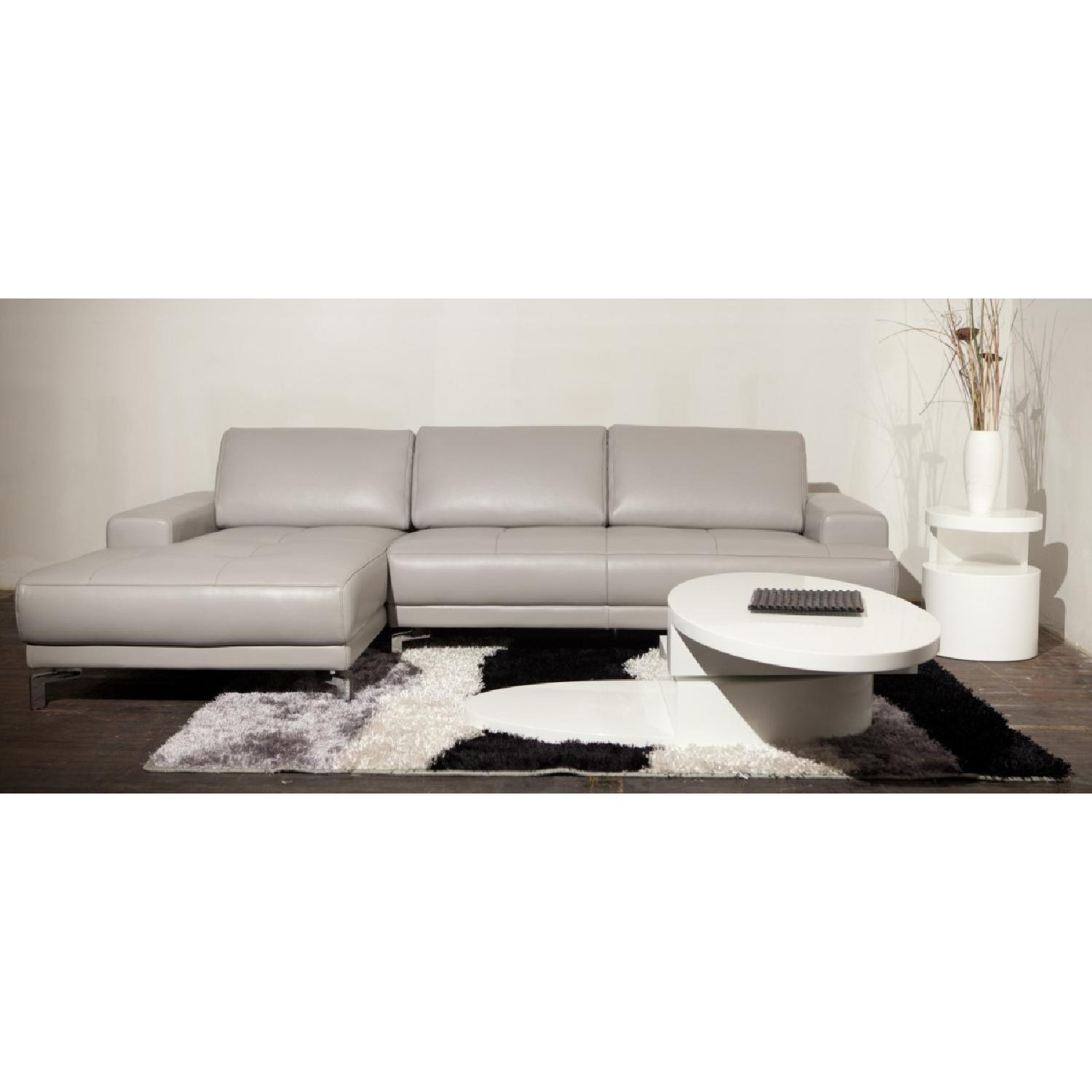 Modern High Gloss White Coffee Table w/ Swivel Oval Top & Sc-1