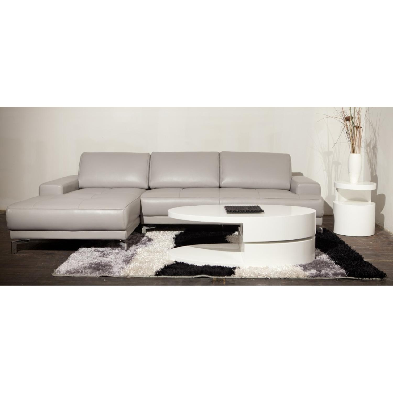 Modern High Gloss White Coffee Table w/ Swivel Oval Top & Sc-2