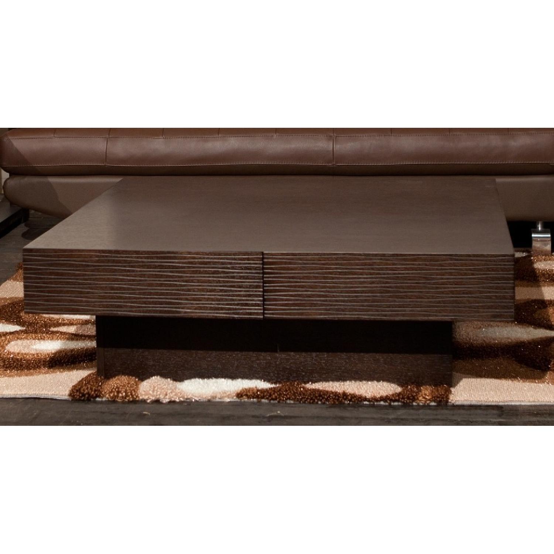 Modern 4-Drawer Storage Coffee Table in Wenge Finish w/ Etch-0