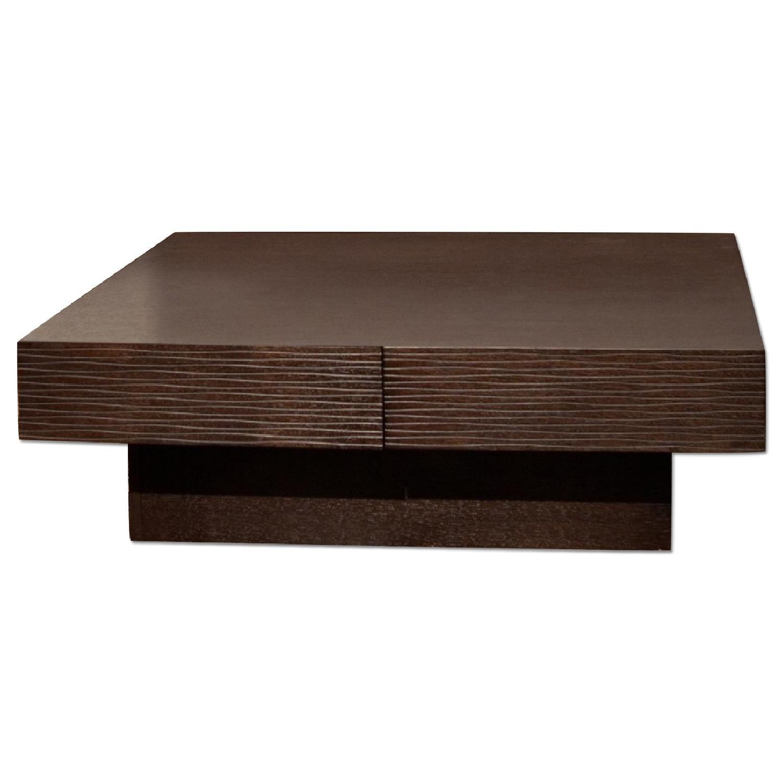 Modern 4-Drawer Storage Coffee Table in Wenge Finish w/ Etch