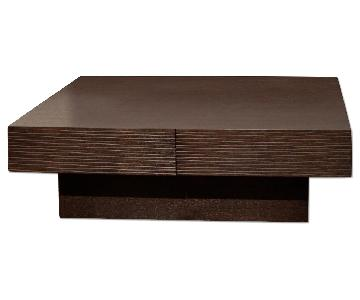Modern 4-Drawer Storage Coffee Table in Wenge Finish w/ Etch