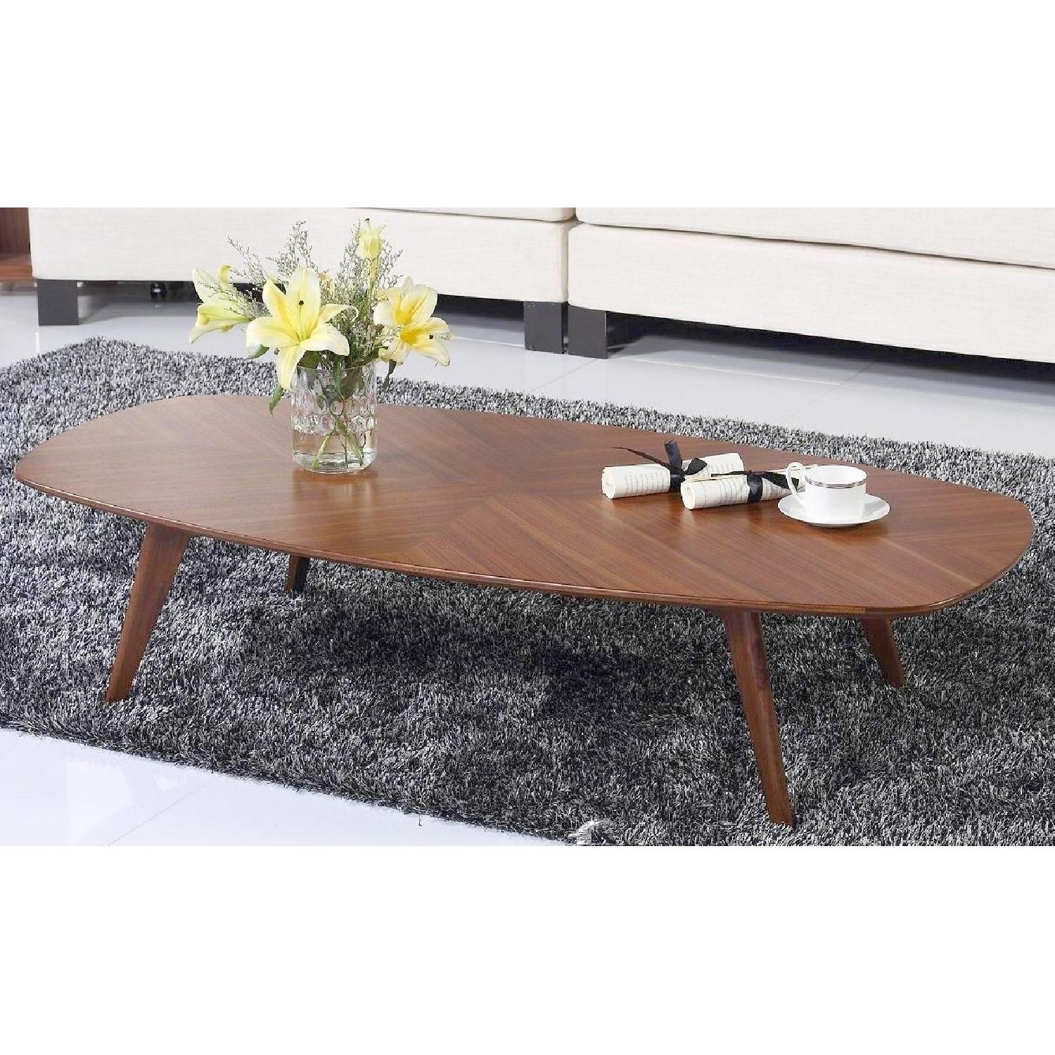 Mid-Century Style Cocktail Table in Walnut Finish w/ Crisscr-1