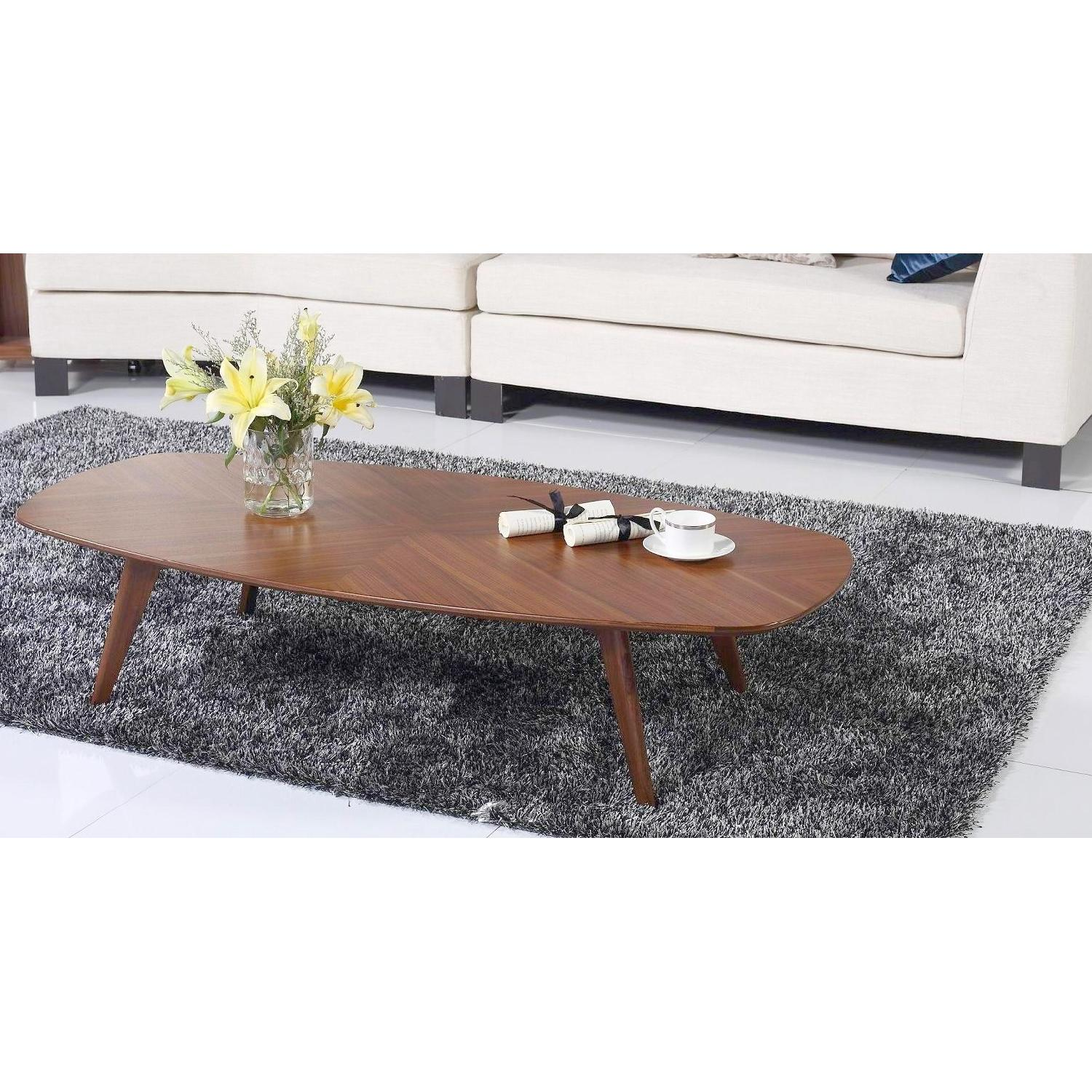 Mid-Century Style Cocktail Table in Walnut Finish w/ Crisscr-2