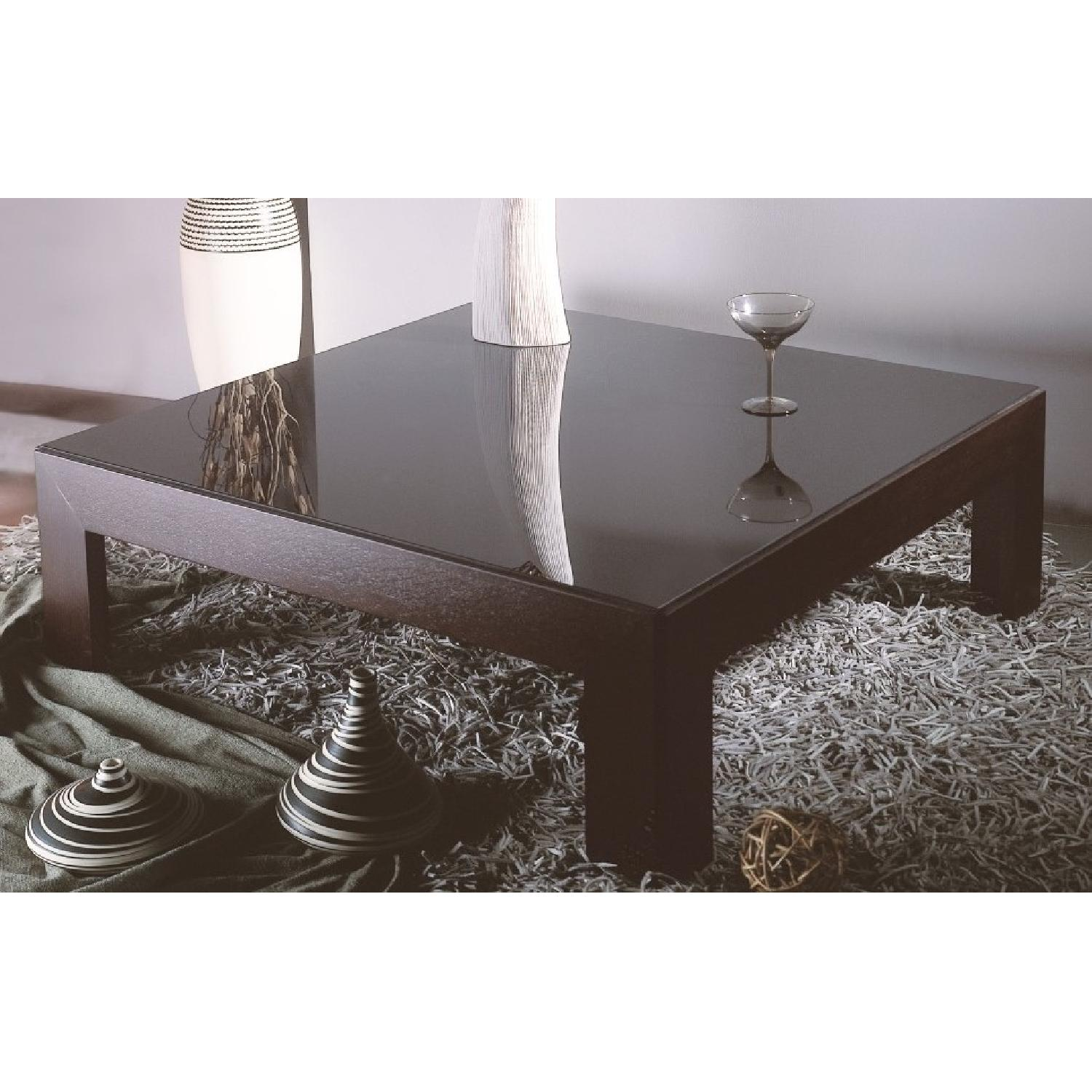 Modern Square Cocktail Table in Wenge Finish w/ Black Glass -0