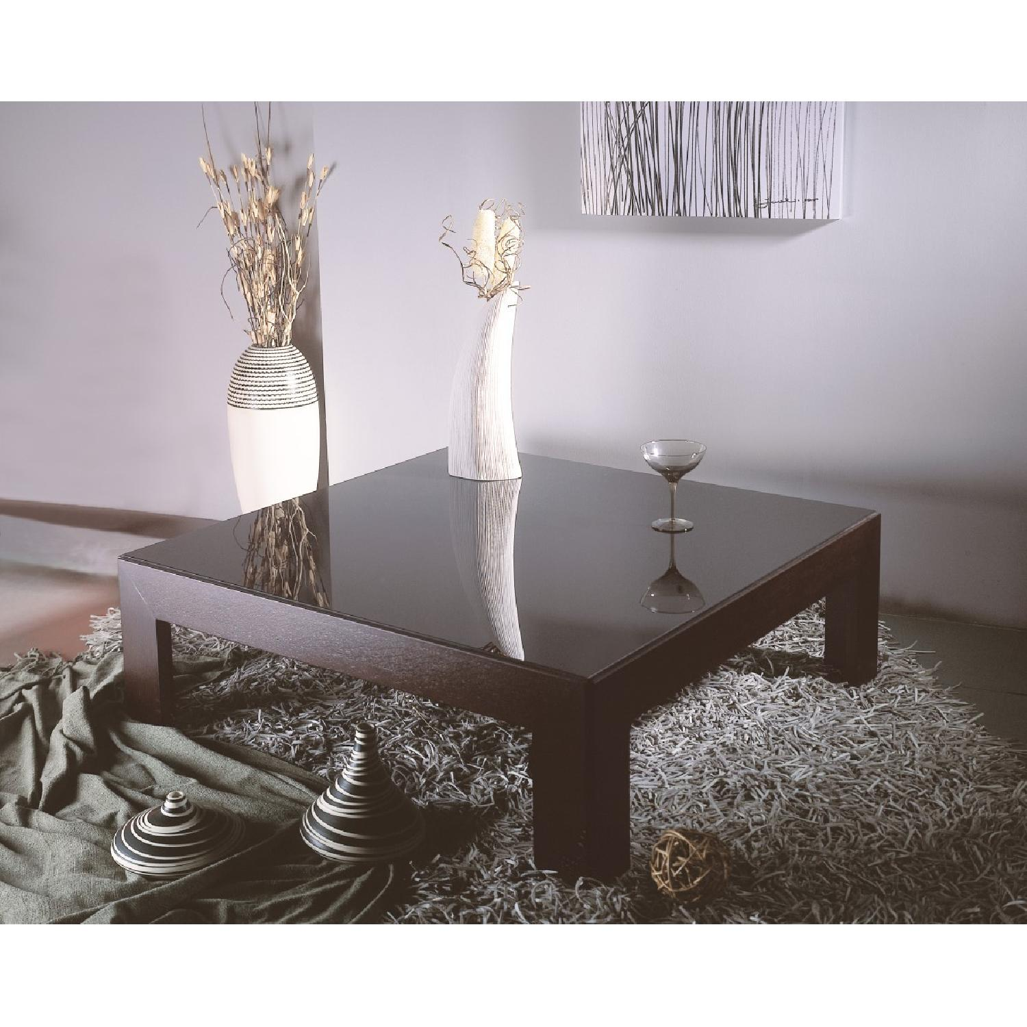 Modern Square Cocktail Table in Wenge Finish w/ Black Glass -1