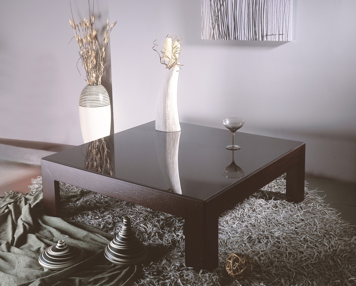 Modern Square Cocktail Table in Wenge Finish w/ Black Glass