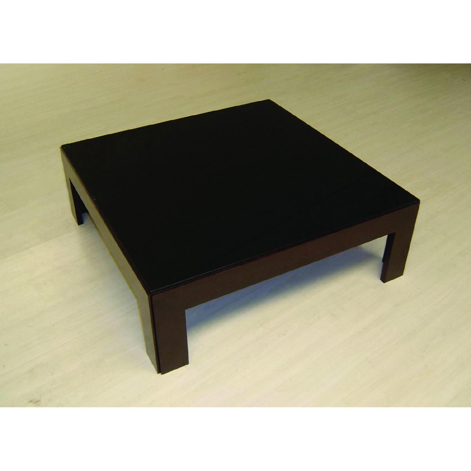 Modern Square Cocktail Table in Wenge Finish w/ Black Glass -2